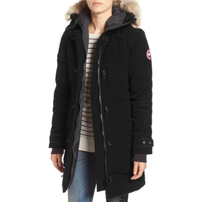 Canada Goose Lorette Hooded Down Parka With Genuine Coyote Fur Trim, Black