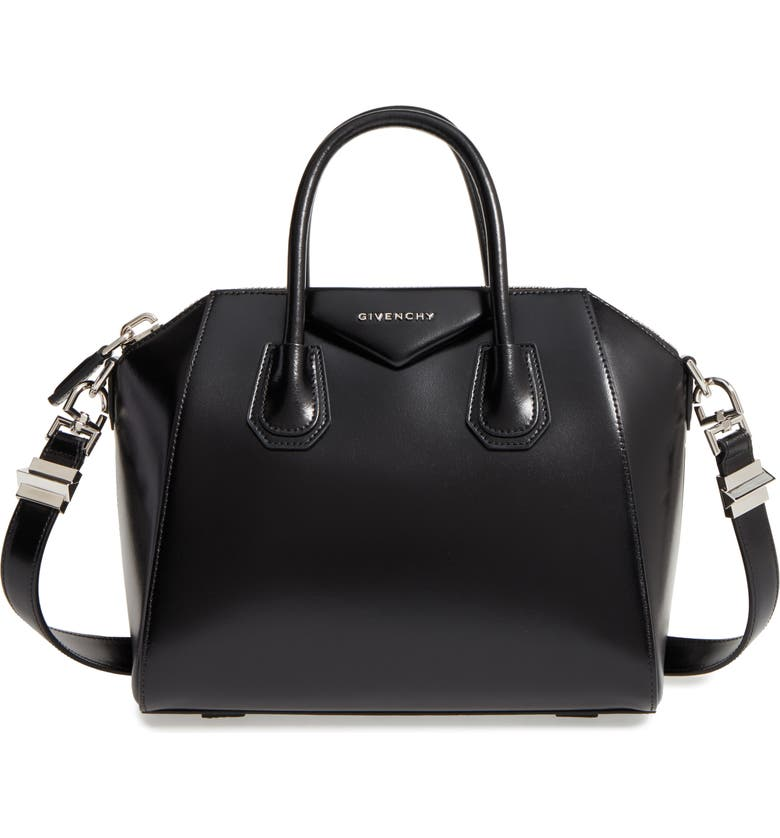 GIVENCHY Small Antigona Box Leather Satchel, Main, color, BLACK