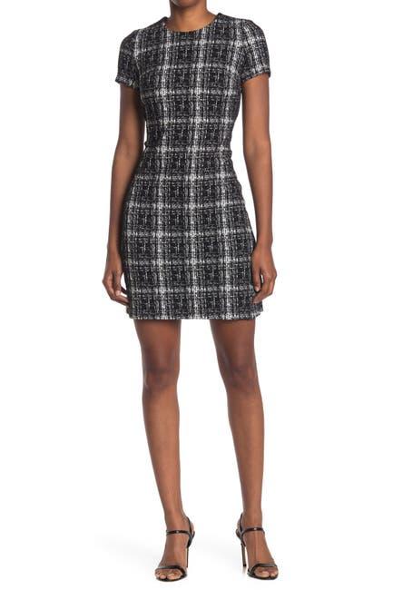 Image of Calvin Klein Ponte Plaid Short Sleeve Dress