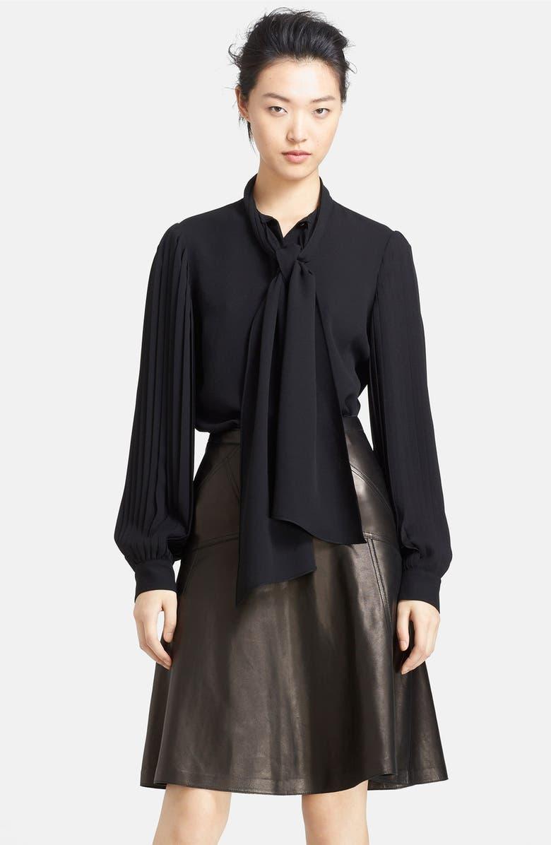 MICHAEL KORS Pleated Sleeve Georgette Blouse, Main, color, 001