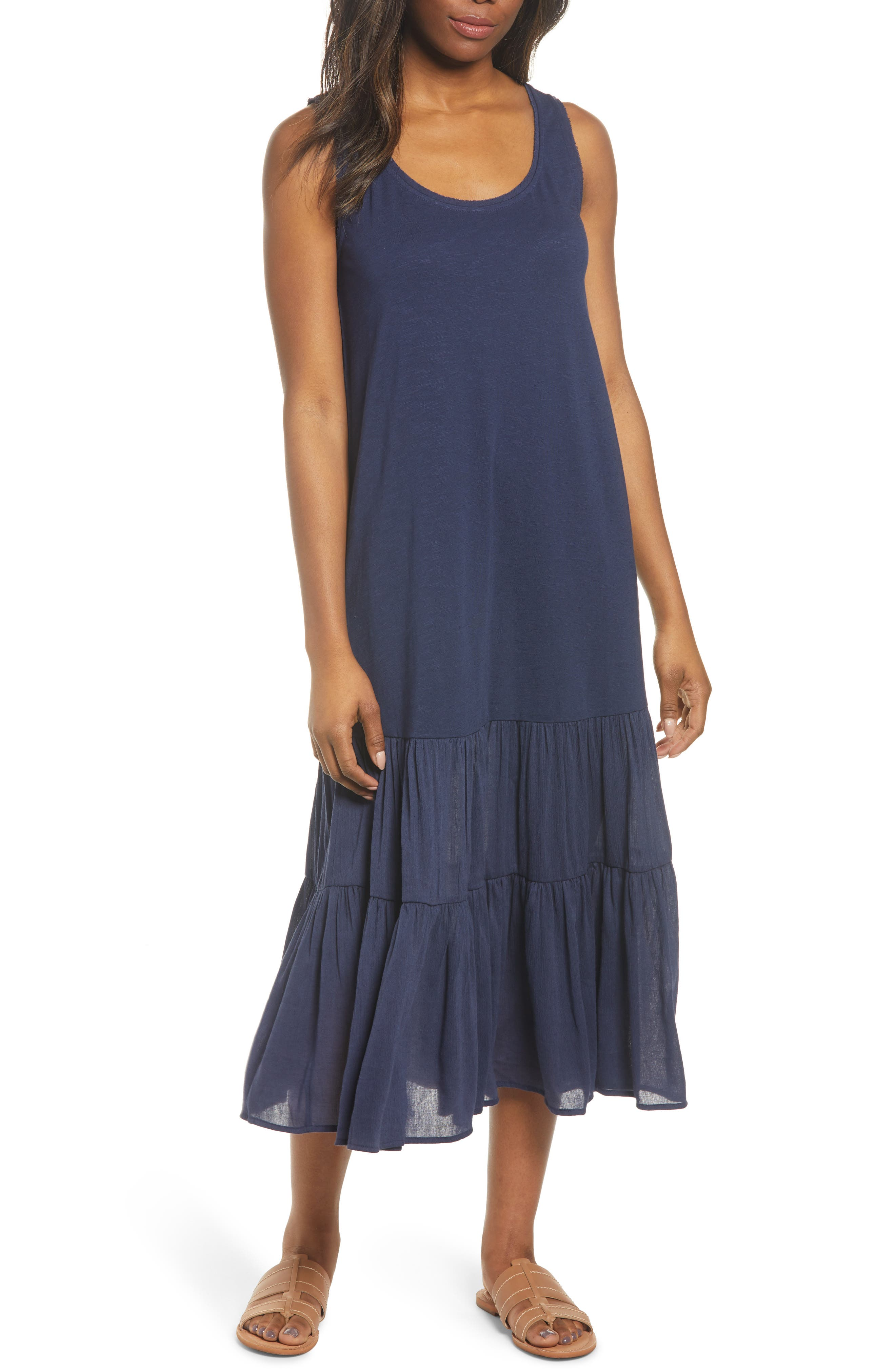 Petite Caslon Mixed Media Drop Waist Maxi Dress, Blue