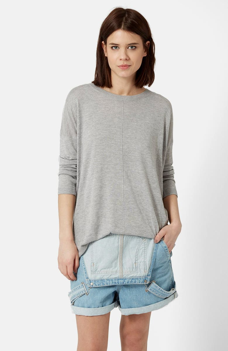 TOPSHOP Paneled Longline Sweater, Main, color, 050