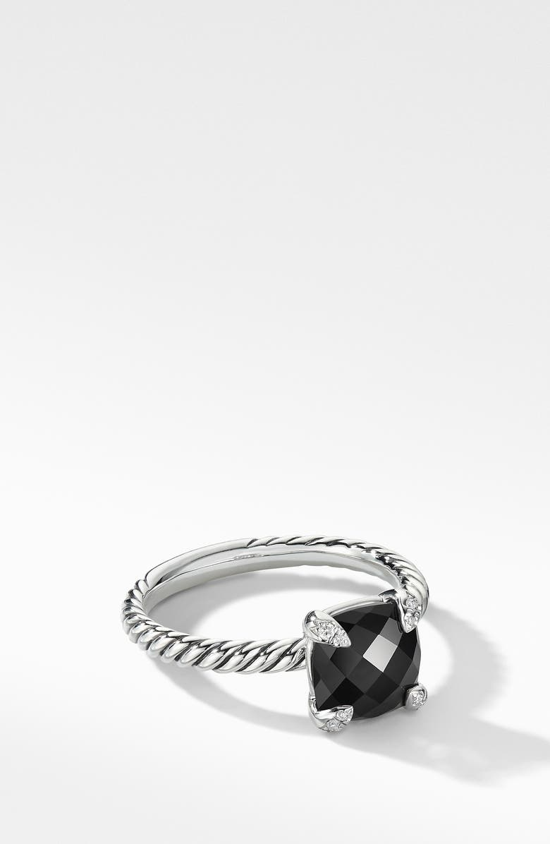 DAVID YURMAN Chatelaine<sup>®</sup> Ring with Semiprecious Stone and Diamonds, Main, color, BLACK ONYX