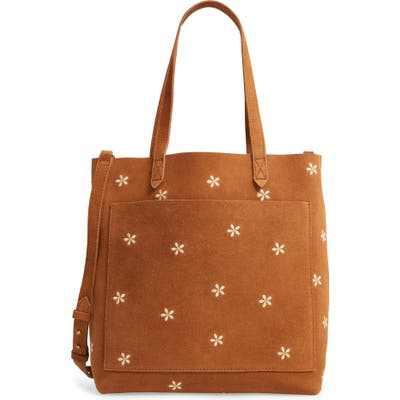 Madewell The Medium Transport Tote: Daisy Embroidered Suede Edition - Brown
