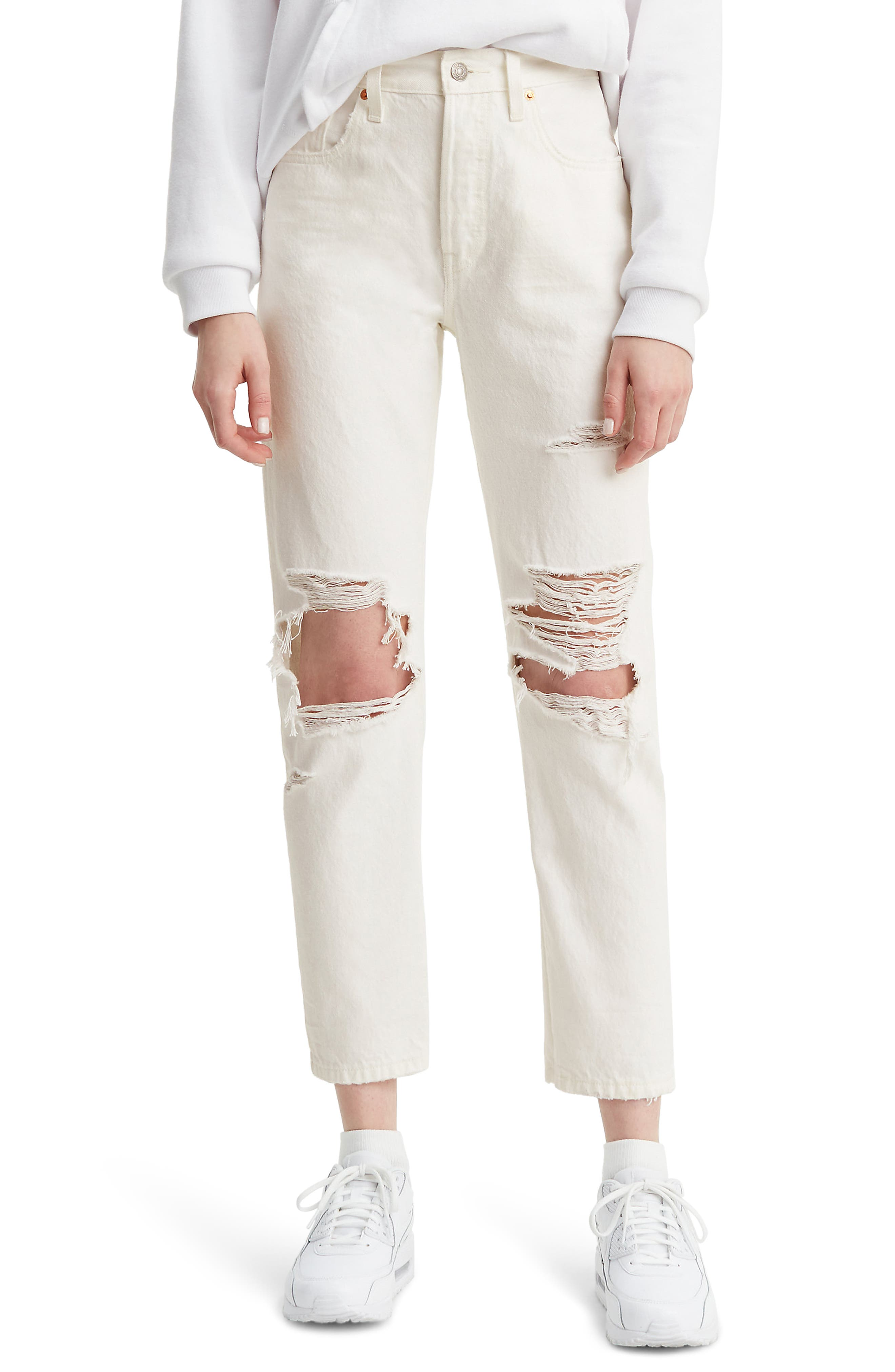 bb7bfbe6 Levi's 501 Ripped High Waist Crop Jeans