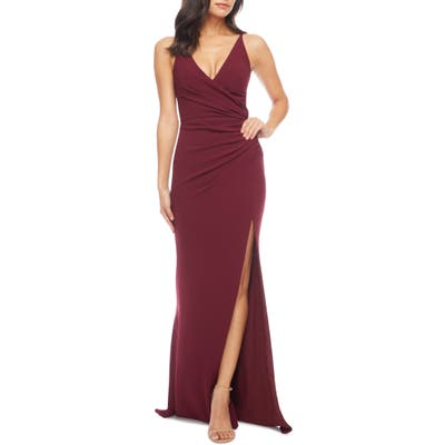Dress The Population Ruched Side Slit Gown, Burgundy