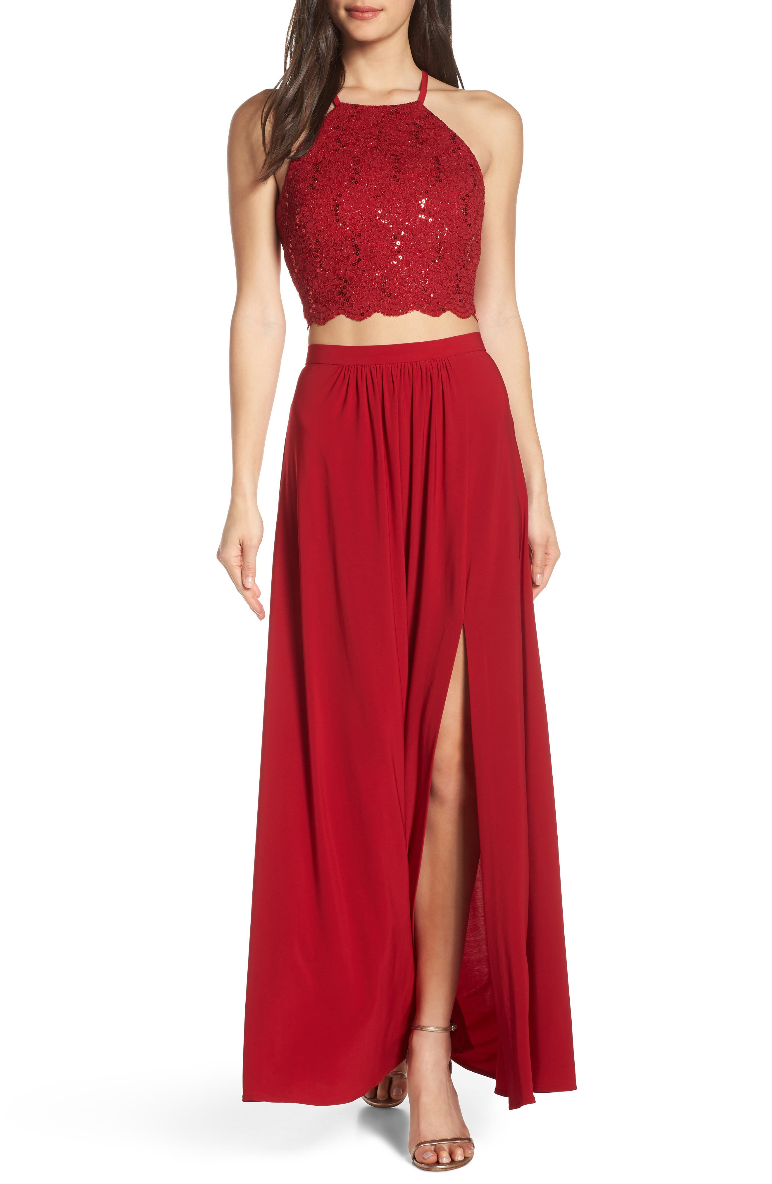 Morgan & Co. Two-Piece Lace Halter Bodice Evening Dress, Red