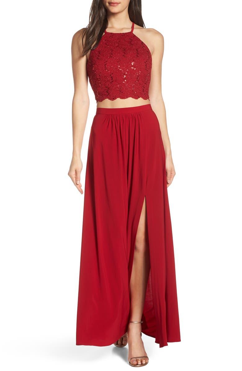MORGAN & CO. Two-Piece Lace Halter Bodice Evening Dress, Main, color, 620