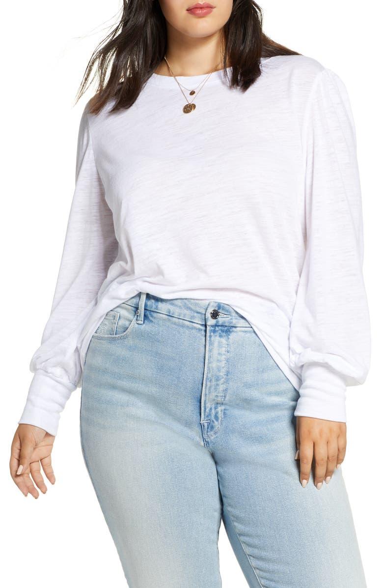 TREASURE & BOND Long Blouson Sleeve Tee, Main, color, WHITE