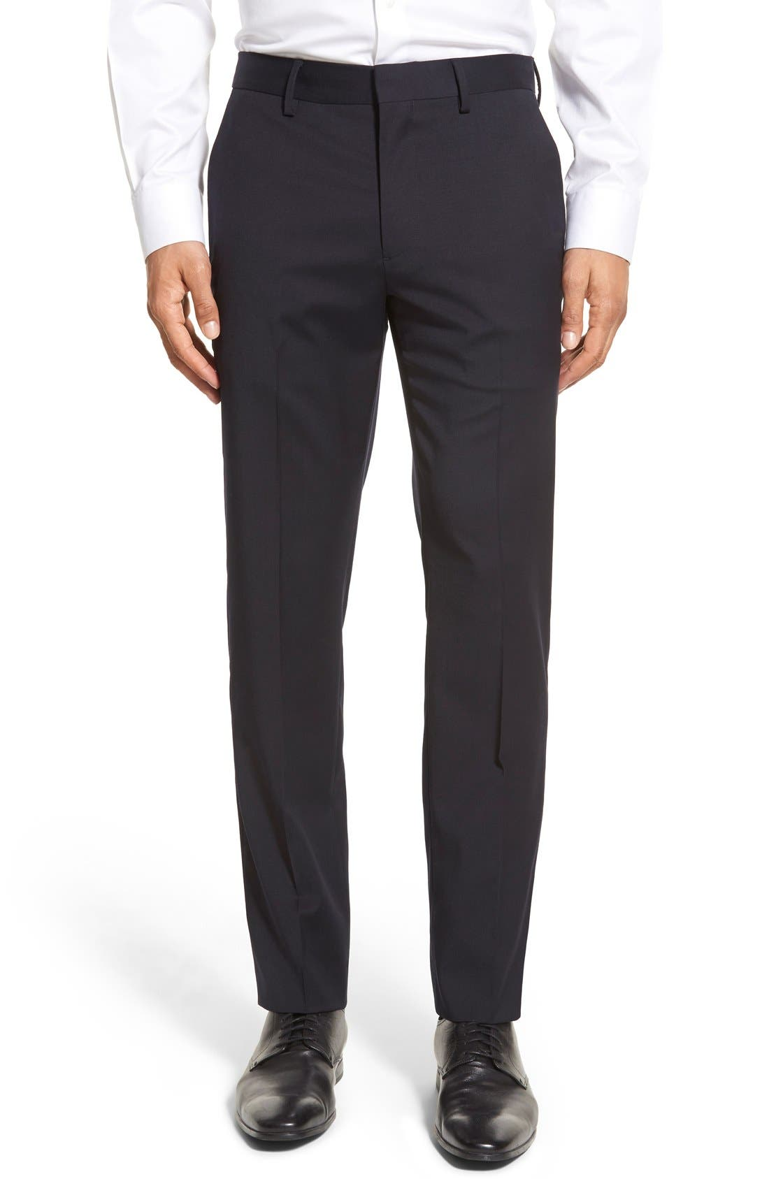 ,                             Jetsetter Slim Fit Flat Front Stretch Wool Trousers,                             Main thumbnail 28, color,                             400