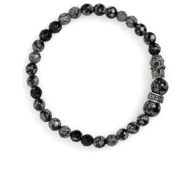 Room101 Snowflake Agate Skull Bead Bracelet