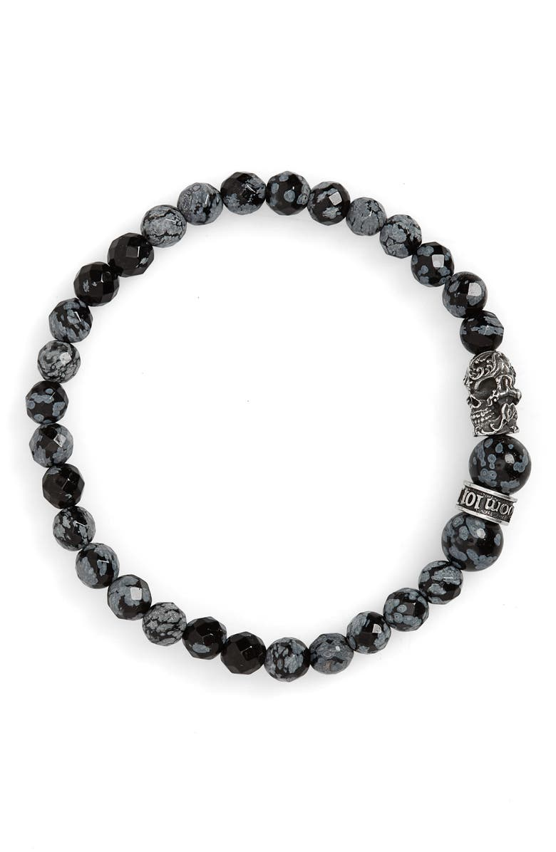 ROOM101 Snowflake Agate Skull Bead Bracelet, Main, color, BLACK