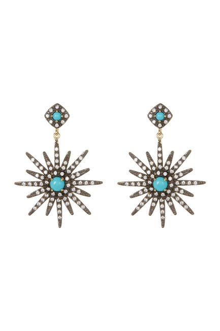 Image of ADORNIA 14K Gold Vermeil Turquoise & Swarovski Crystal Accented Starburst Earrings