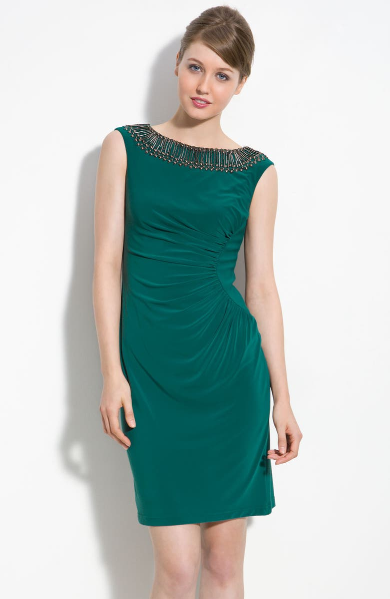 ADRIANNA PAPELL Beaded Jersey Sheath Dress, Main, color, 312