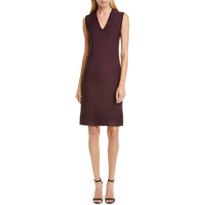 St. John Collection Sculpted Texture Sweater Dress, Burgundy (Nordstrom Exclusive)