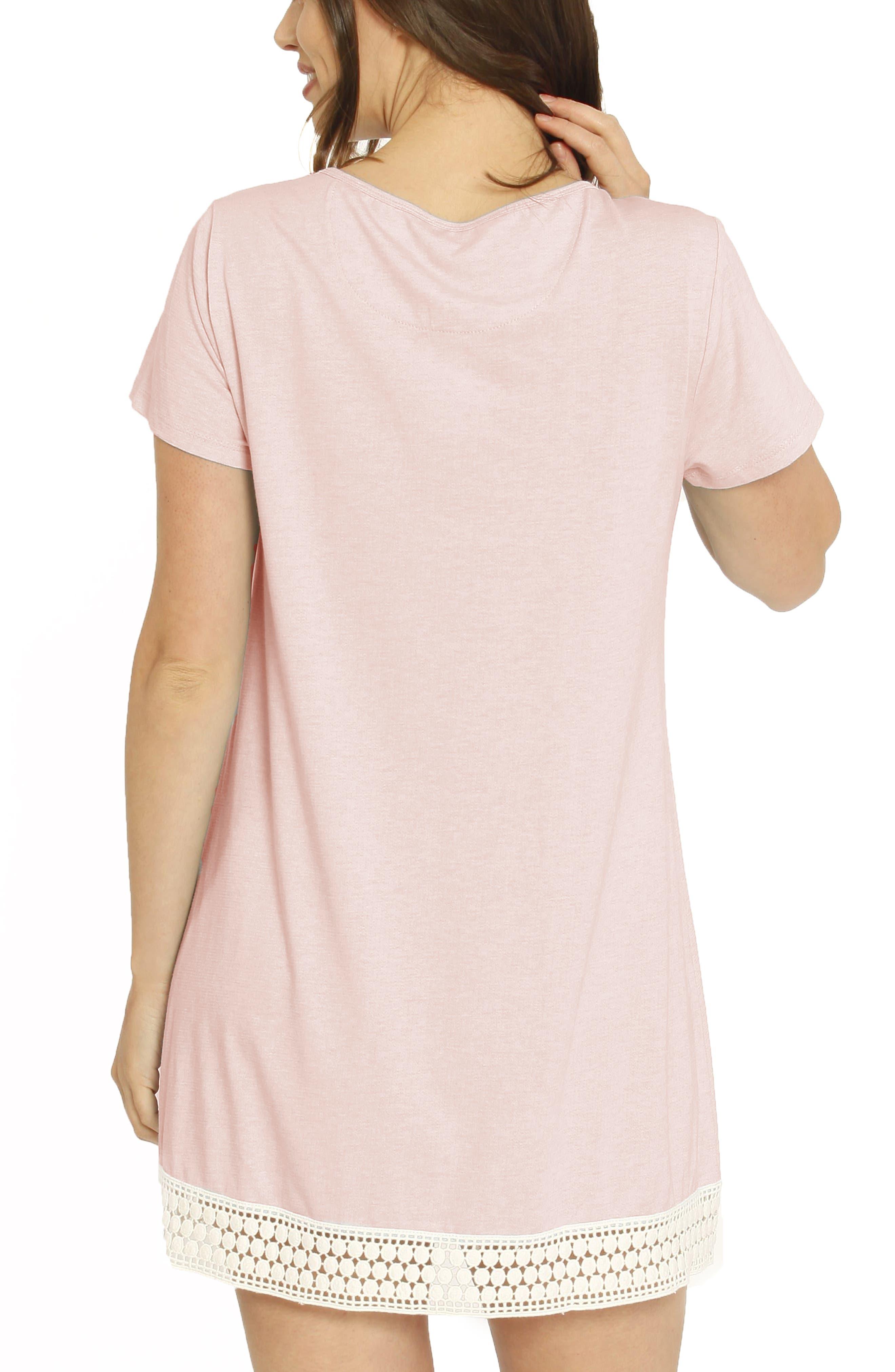 ,                             Ruby Joy Maternity/Nursing Sleep Shirt, Robe & Baby Blanket Pouch Set,                             Alternate thumbnail 5, color,                             PINK