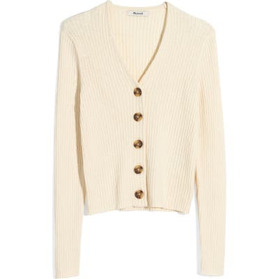 Madewell Shrunken Ribbed Cardigan, White