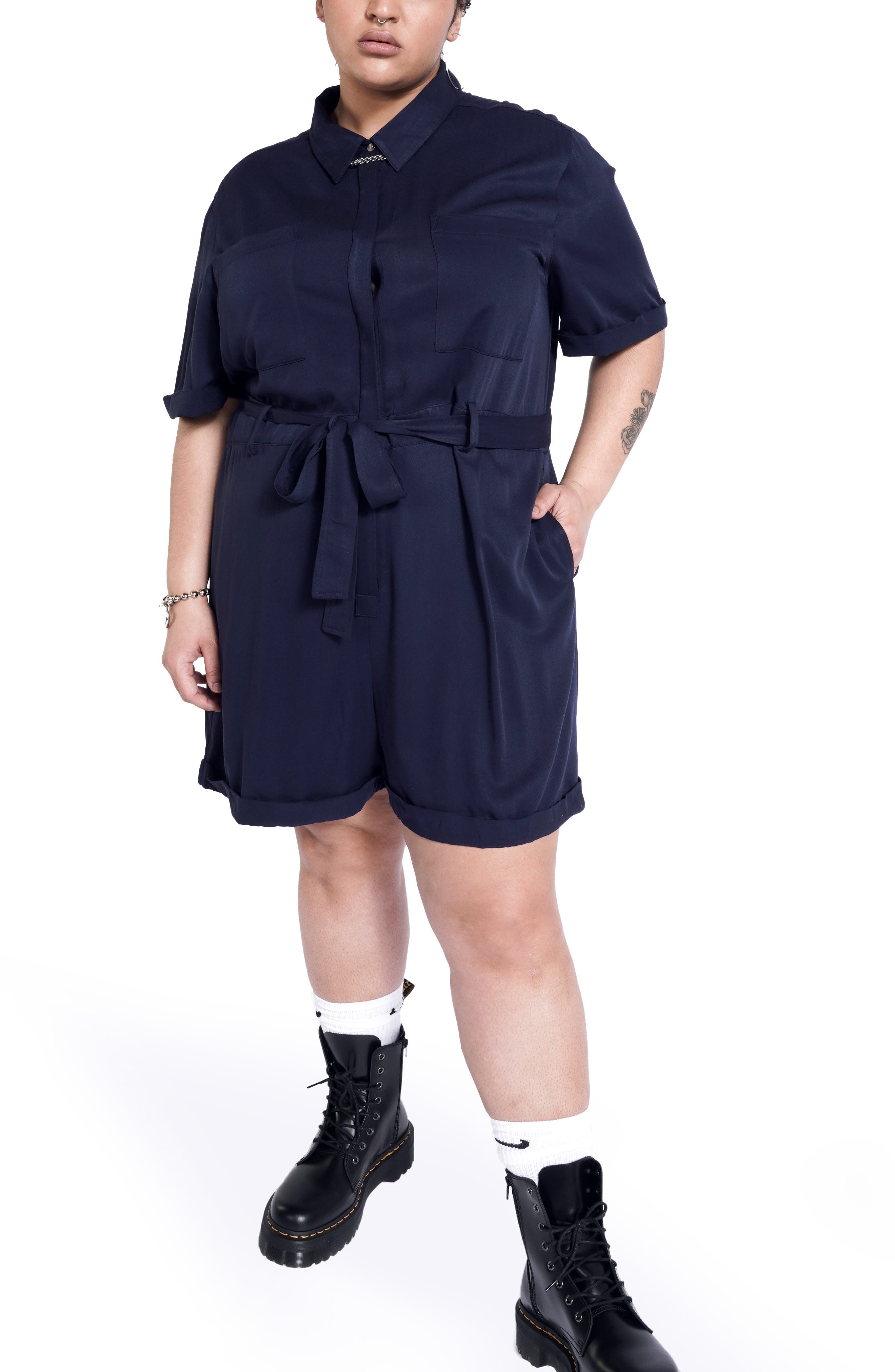 Women's Bp. + Wildfang Short Sleeve Romper With Removable Belt