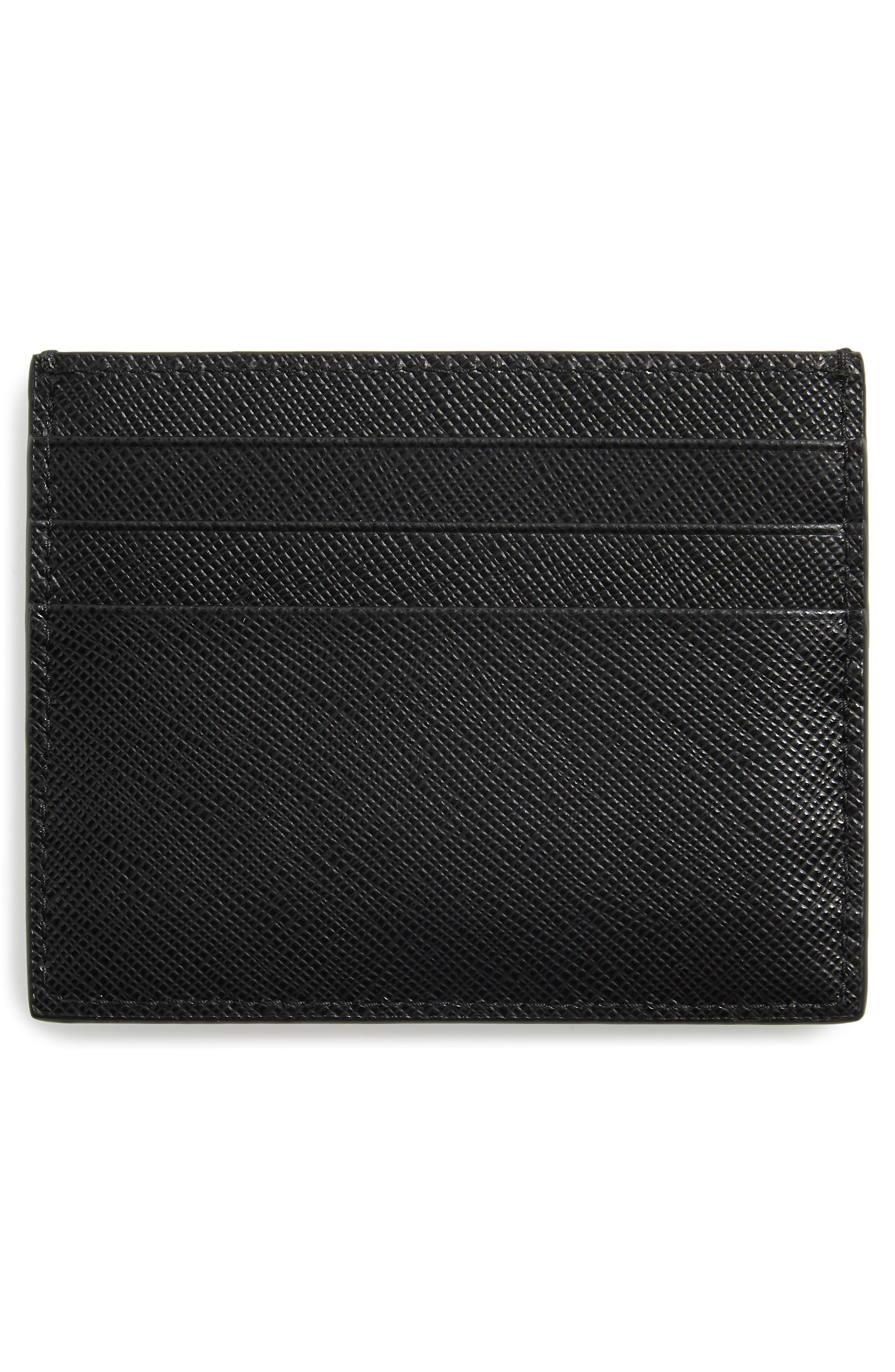 ,                             Saffiano Metal Oro Leather Card Case,                             Alternate thumbnail 2, color,                             NERO