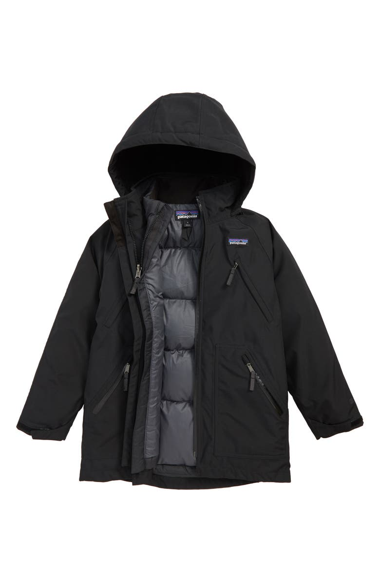 PATAGONIA Tres Water Repellent 3-in-1 Recycled Down Parka, Main, color, BLACK