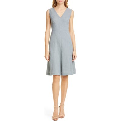 Tailored By Rebecca Taylor Sleeveless Linen Blend Fit & Flare Dress, Grey