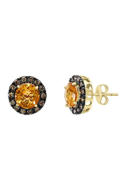 Effy 14k Yellow Gold Citrine Brown Diamond Stud Earrings Nordstrom Rack