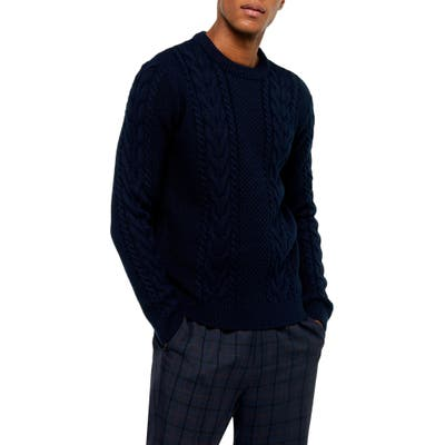 Topman Crewneck Cable Knit Sweater, Blue