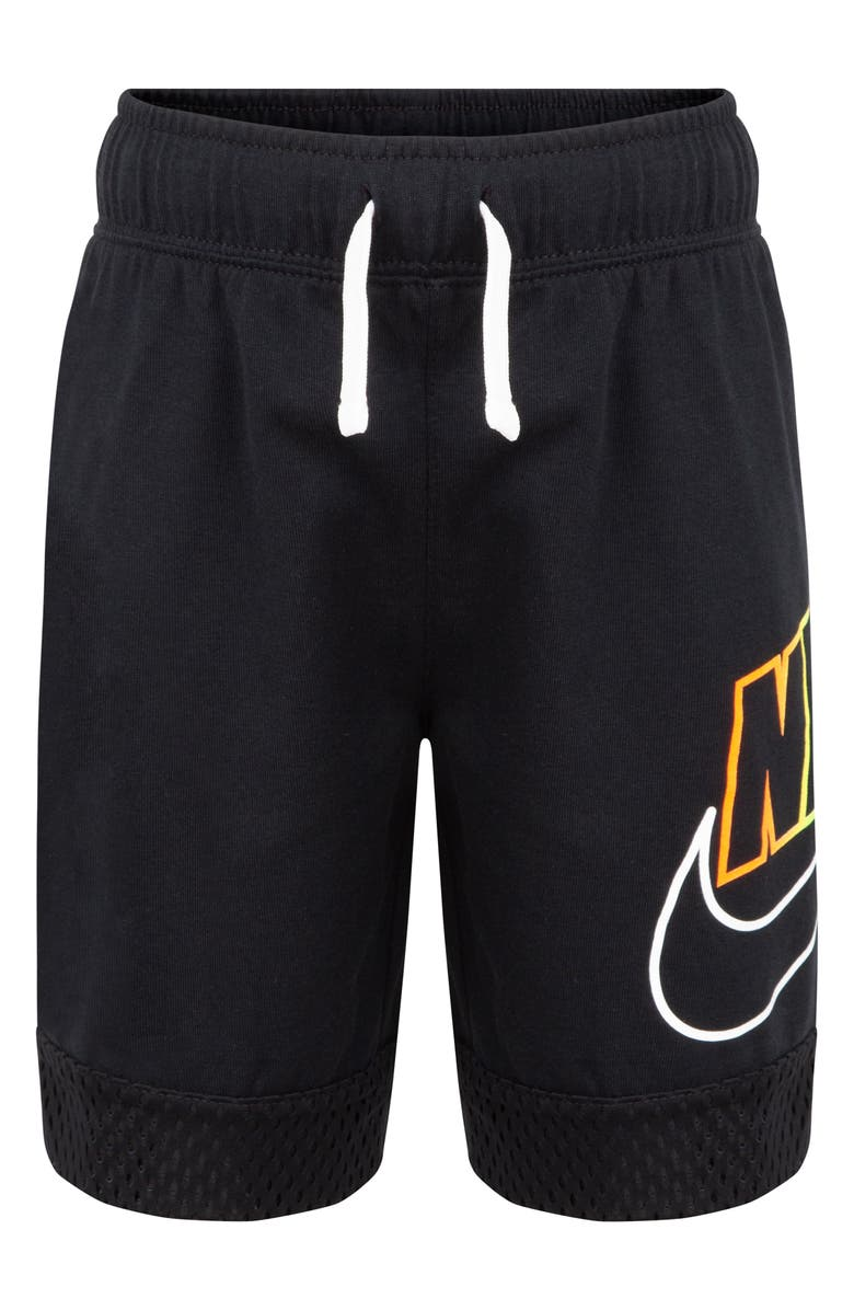 NIKE Sportswear Mesh Cuff Shorts, Main, color, BLACK