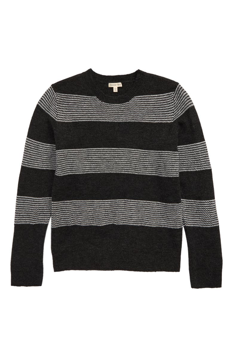 TUCKER + TATE Stripe Pullover Sweater, Main, color, GREY CHARCOAL HEATHER STRIPE
