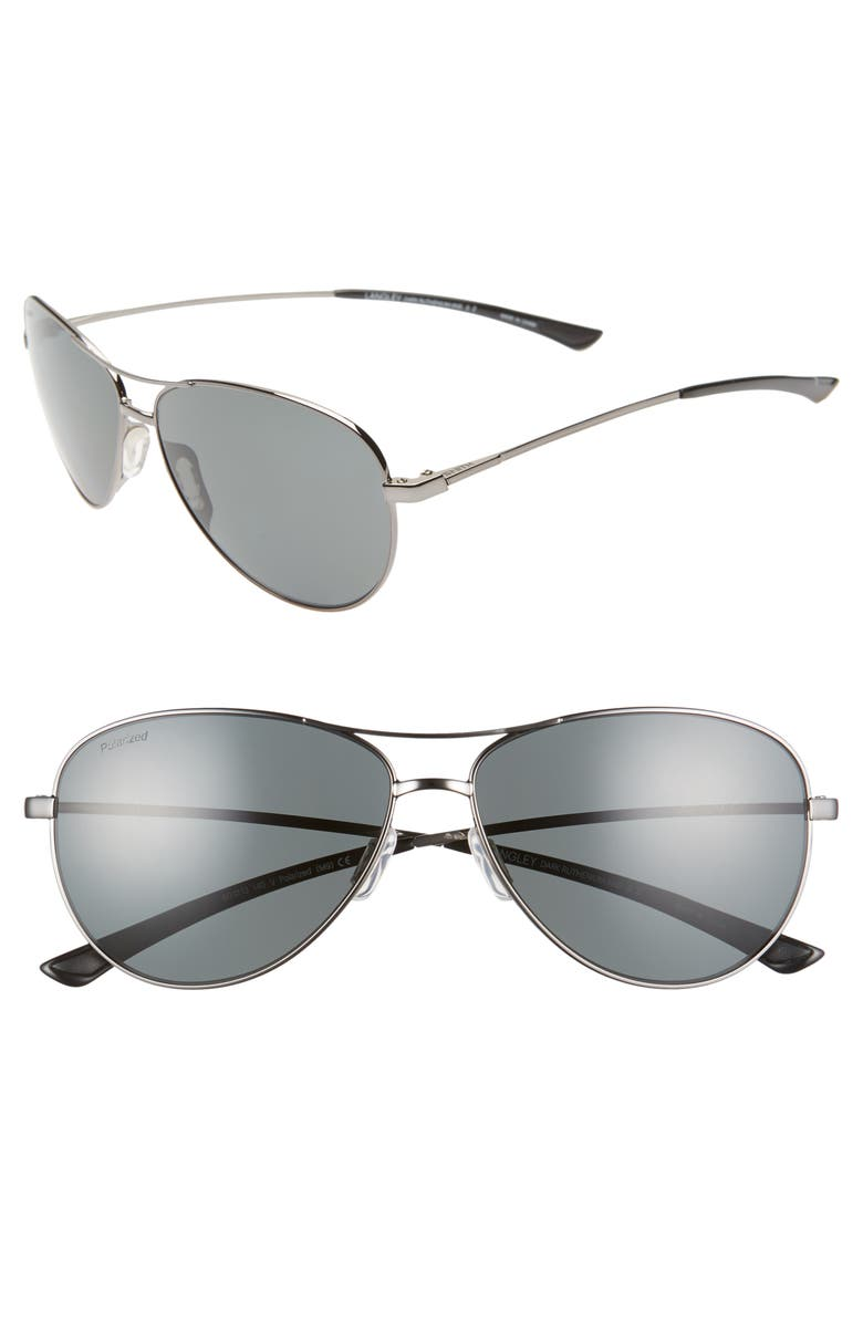 SMITH Langley 60mm ChromaPop<sup>™</sup> Polarized Aviator Sunglasses, Main, color, DARK RUTHENIUM/ GREY