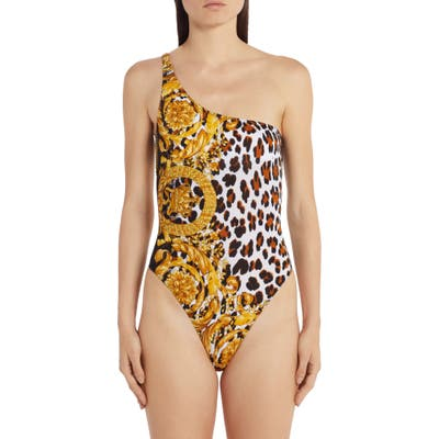 Versace Animal Print One Shoulder One-Piece Swimsuit, White