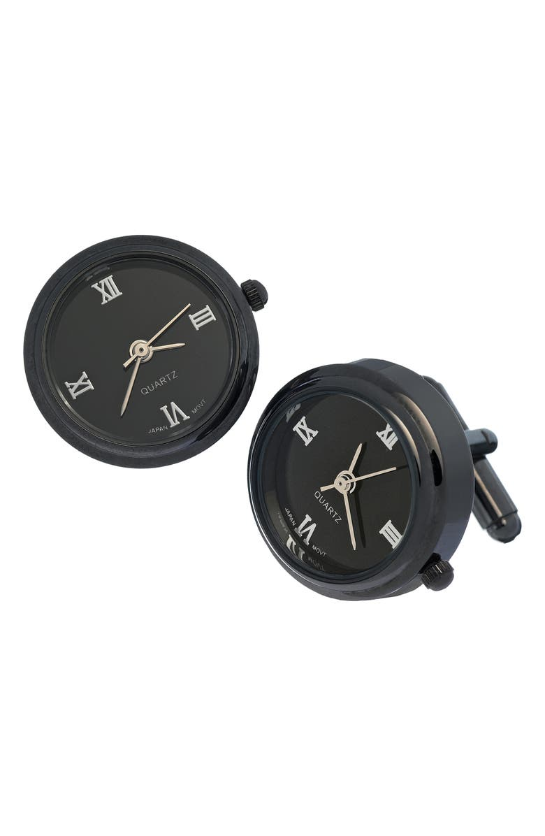 LINK UP Watch Face Cuff Links, Main, color, BLACK