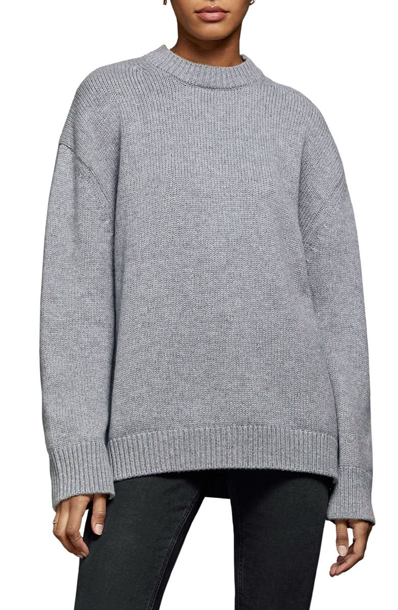 ANINE BING Rosie Oversize Cashmere Sweater, Main, color, GREY