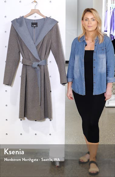 Double Face Wool Blend Wrap Coat with Hood, sales video thumbnail