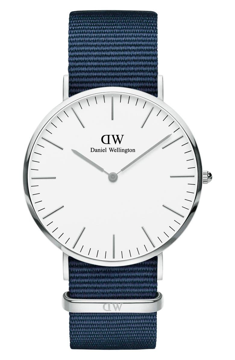 DANIEL WELLINGTON Classic Roselyn Nylon Strap Watch, 36mm, Main, color, 400
