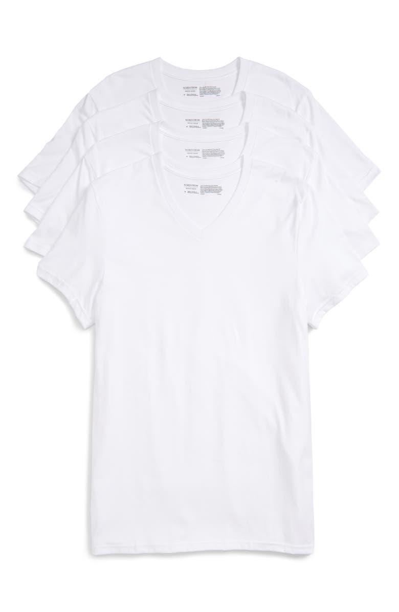 NORDSTROM MEN'S SHOP Nordstrom Mens Shop 4-Pack Trim Fit Supima<sup>®</sup> Cotton V-Neck T-Shirts, Main, color, WHITE