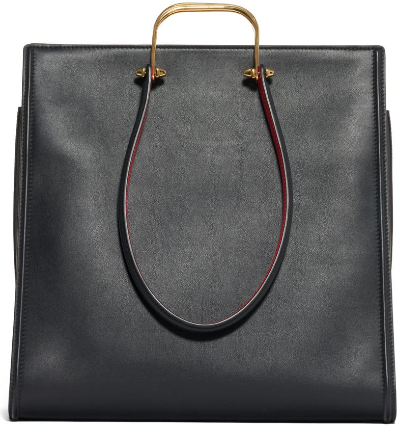 ALEXANDER MCQUEEN The Tall Story Leather Tote, Main, color, BLACK/ RED