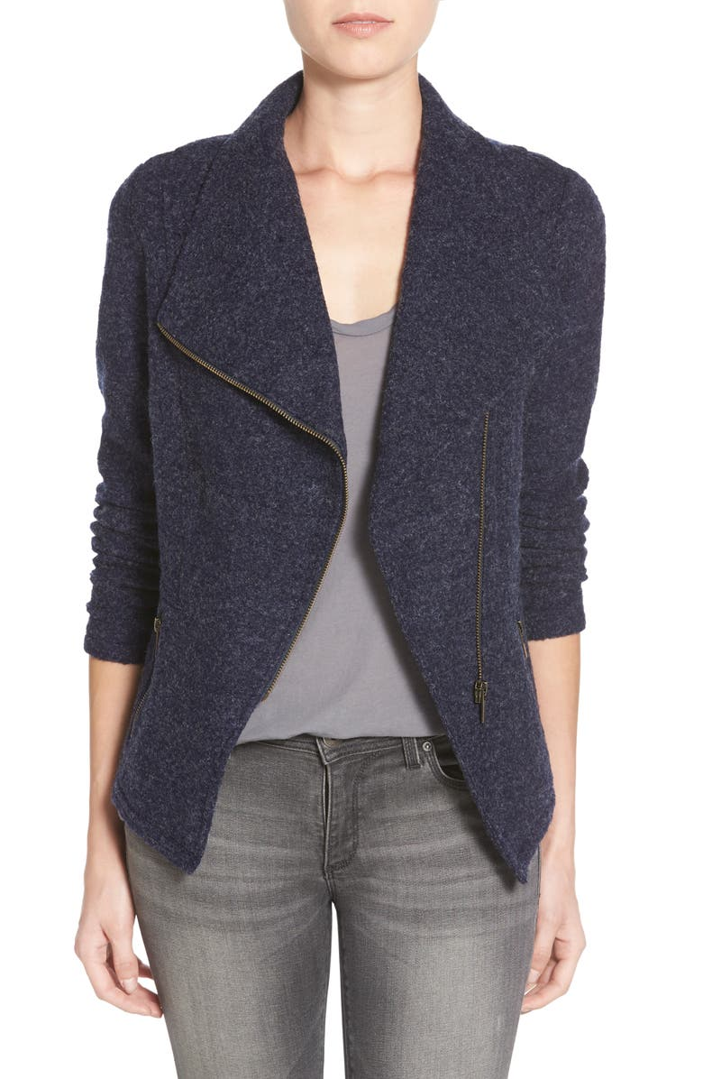 HALOGEN<SUP>®</SUP> Knit Moto Jacket, Main, color, NAVY PEACOAT
