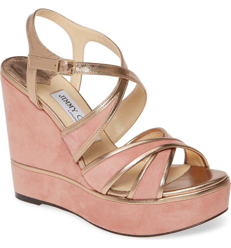 JIMMY CHOO Alissa Platform Wedge Sandal, Main, color, BLUSH/ GOLD