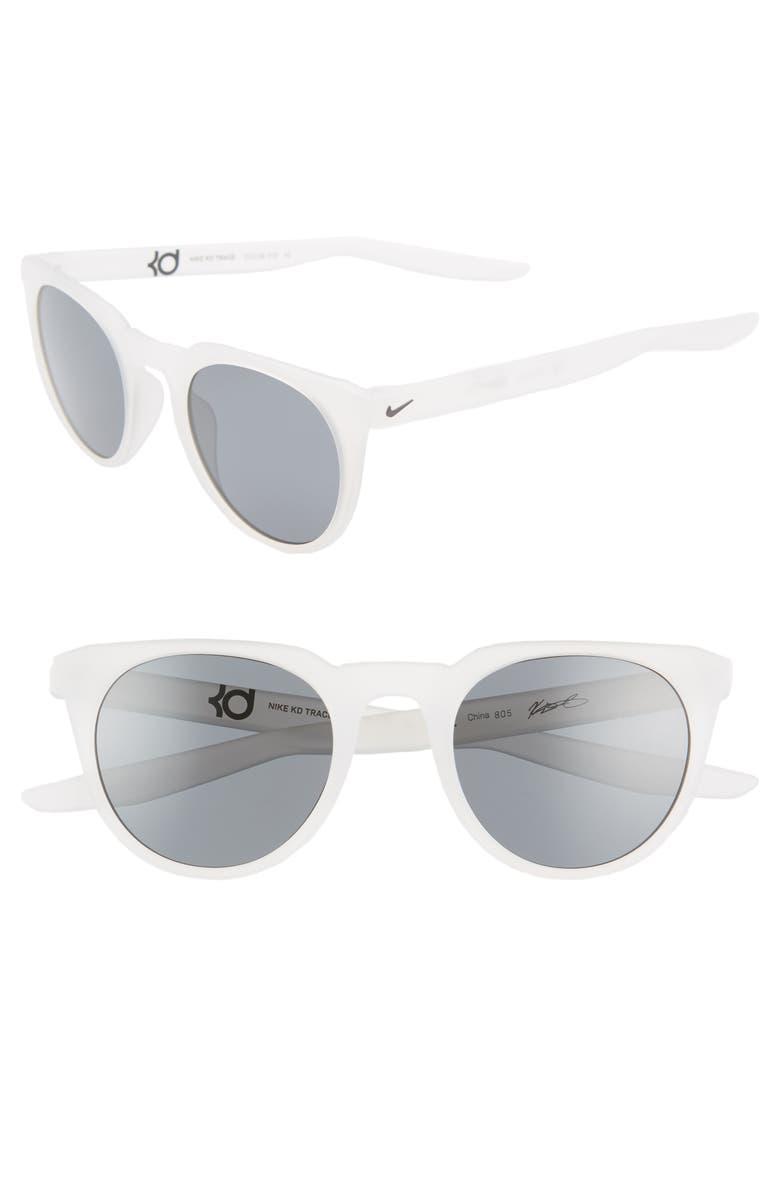 NIKE KD Trace 49mm Round Sport Sunglasses, Main, color, MATTE LIGHT BONE/ DARK GREY