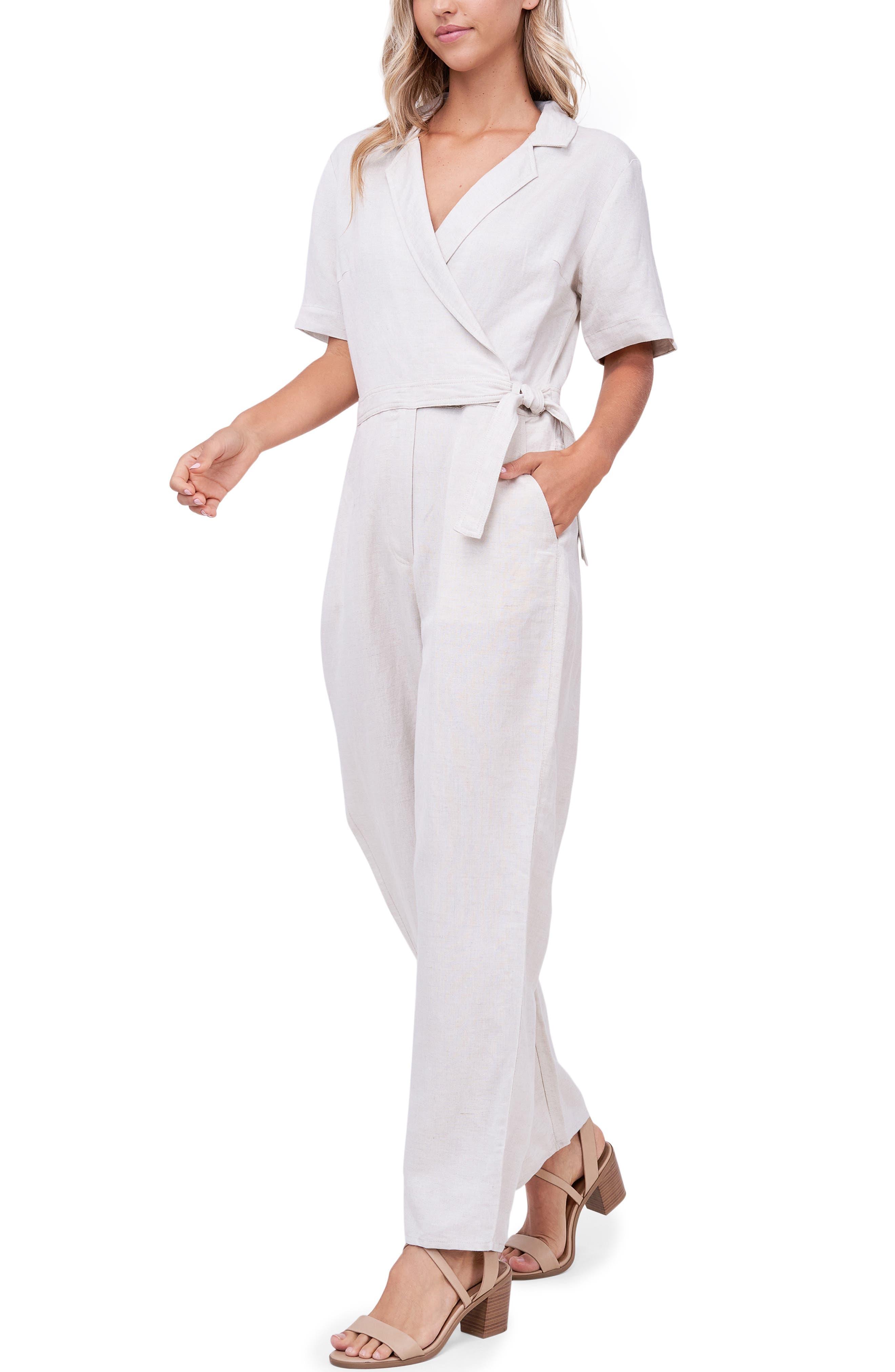 Linen Blend Wrap Jumpsuit