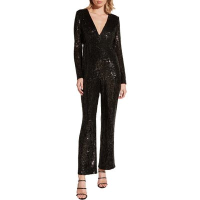Bardot Dita Sequin Long Sleeve Jumpsuit, Black