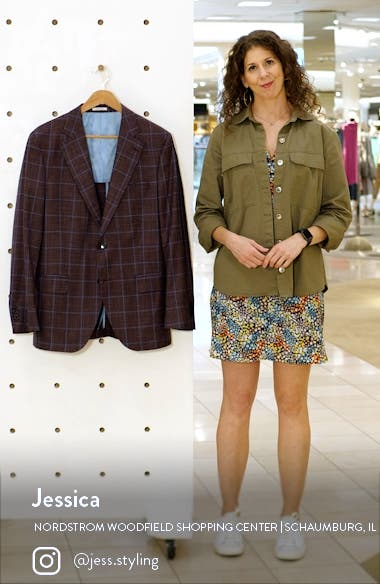 Windowpane Slub Wool Blend Sport Coat, sales video thumbnail