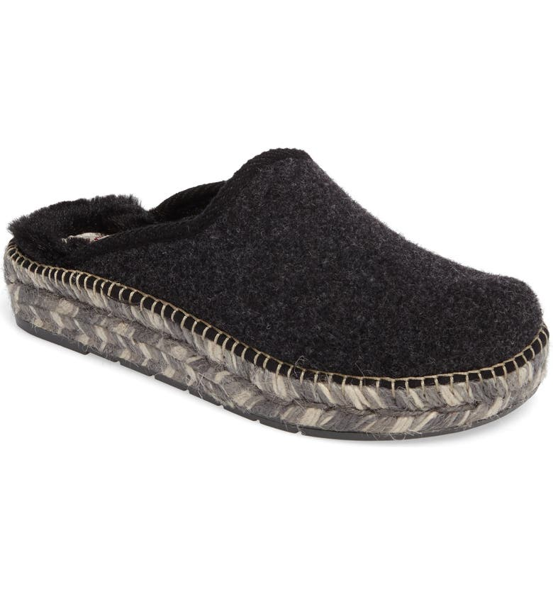 TONI PONS Mysen Faux Fur Lined Espadrille Slipper, Main, color, BLACK FELT