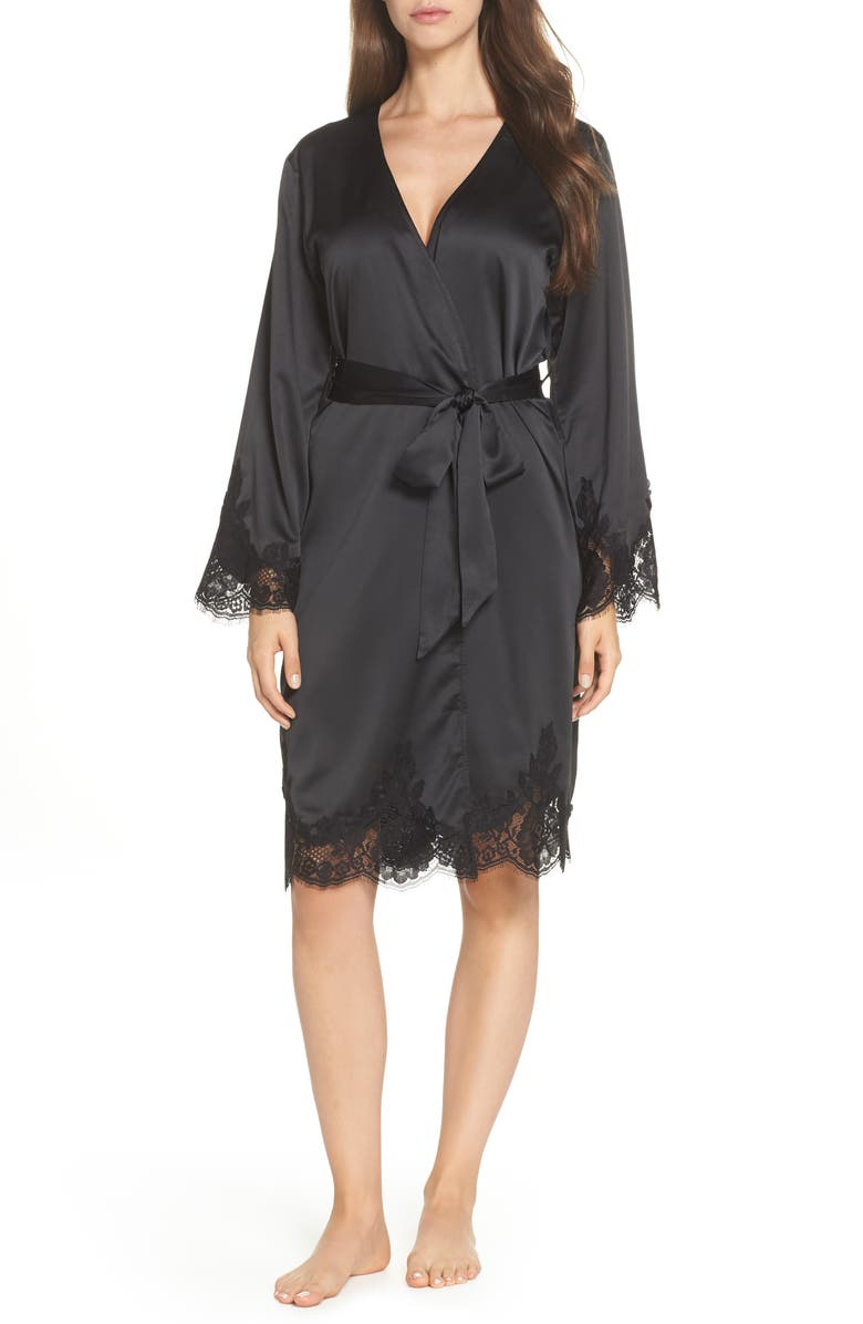 HOMEBODII Olivia Short Robe, Main, color, BLACK