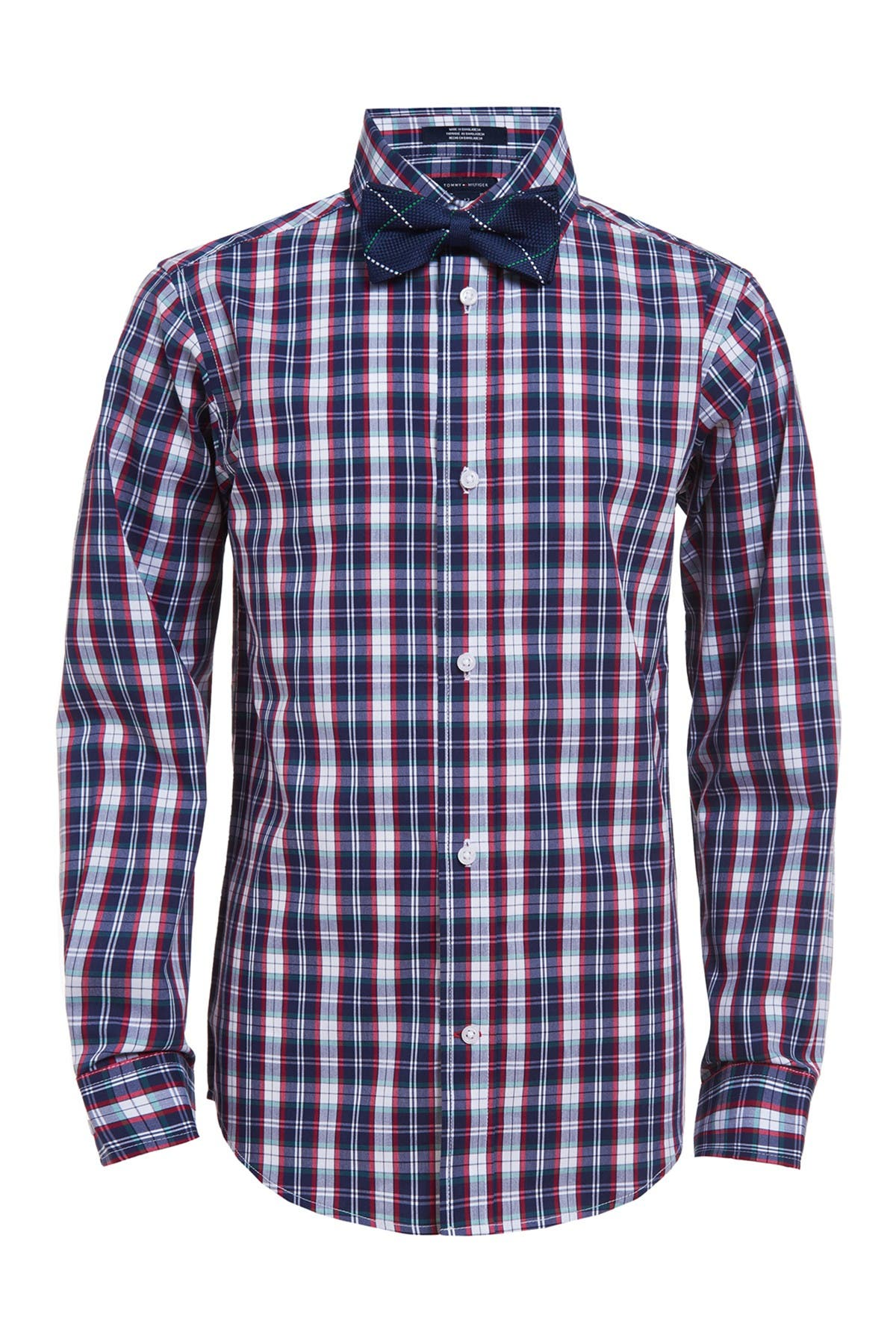 Image of Tommy Hilfiger Road Map Plaid Shirt & Bow Tie