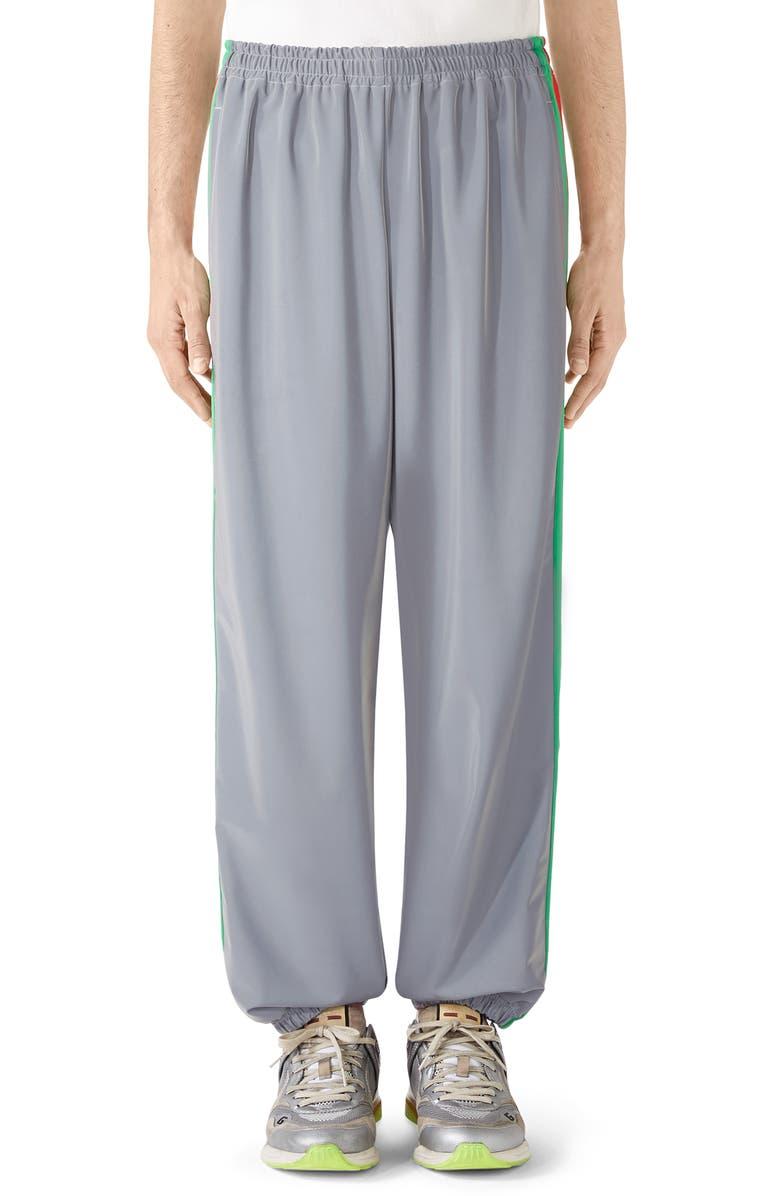 GUCCI Reflective Jersey Jogging Pants, Main, color, SILVER/MC