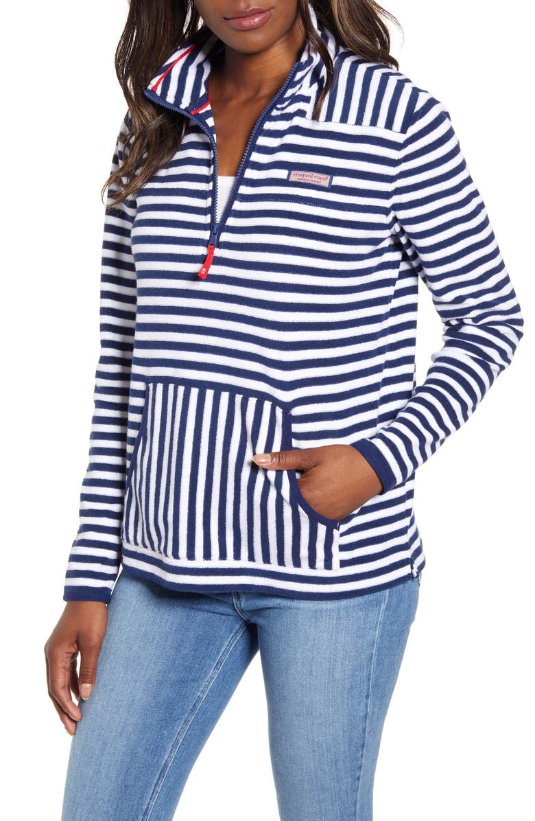 VINEYARD VINES Stripe Terry Relaxed Pullover, Main, color, DEEP BAY