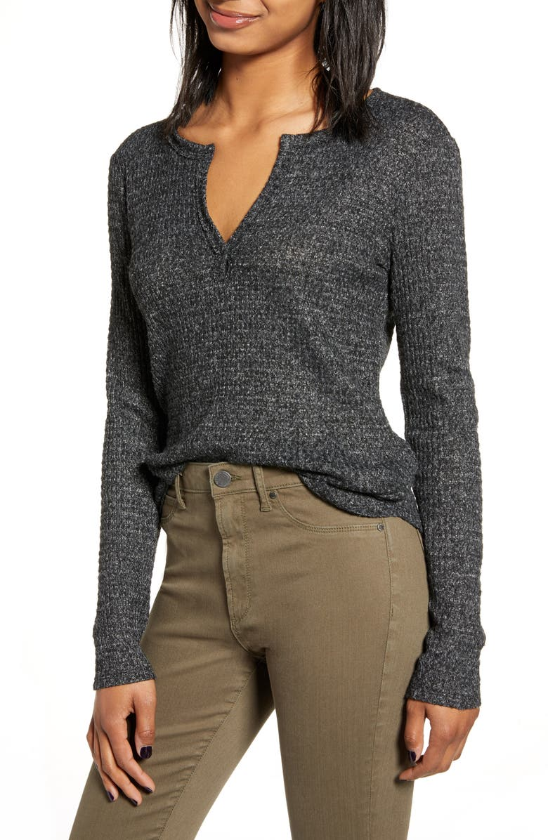 SOCIALITE Long Sleeve Thermal Henley Top, Main, color, CHARCOAL