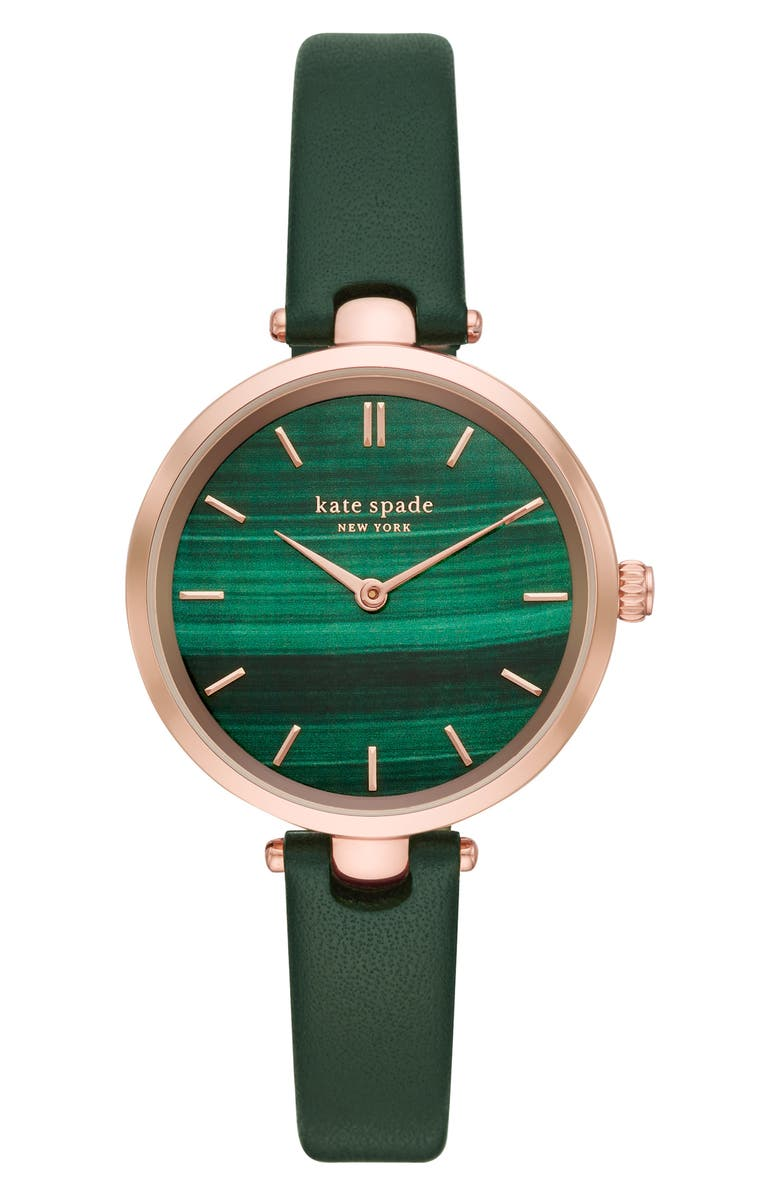 KATE SPADE NEW YORK holland leather strap watch, 34mm, Main, color, GREEN/ ROSE GOLD